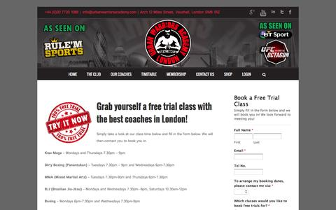 Screenshot of Signup Page urbanwarriorsacademy.com - Urban Warriors Academy – MMA Gym London | Krav Maga London FREE TRIAL CLASS - Urban Warriors Academy - MMA Gym London | Krav Maga London - captured Jan. 10, 2016
