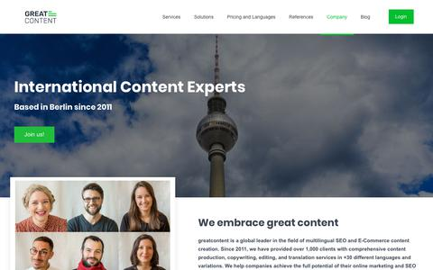 Screenshot of About Page greatcontent.com - greatcontent – Meet the Team - captured Nov. 13, 2018