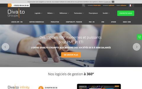 Screenshot of Home Page divalto.com - Divalto : ERP PGI et logiciel gestion pour les PME & ETI - France - captured Nov. 23, 2016