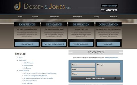 Screenshot of Site Map Page dossey.com - Site Map   Montgomery County Lawyer - captured Oct. 5, 2014