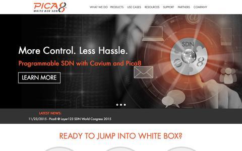 Screenshot of Home Page pica8.com - Pica8 - captured Dec. 3, 2015