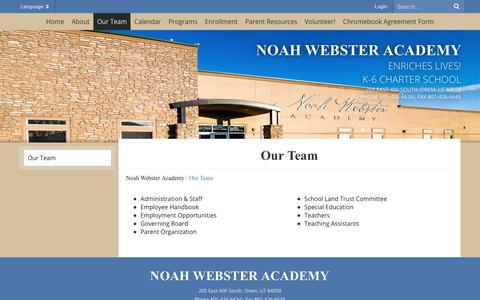 Screenshot of Team Page noahwebsteracademy.org - Our Team - Noah Webster Academy - captured Dec. 21, 2018