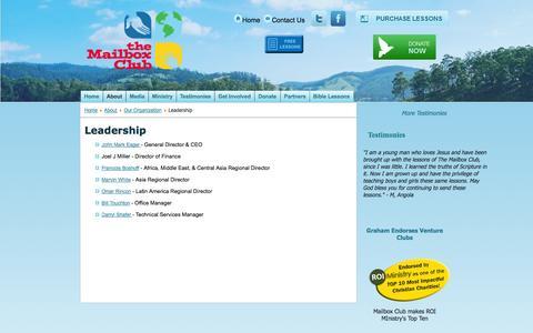 Screenshot of Team Page mailboxclub.org - Mailbox Club - Leadership - captured Oct. 8, 2014
