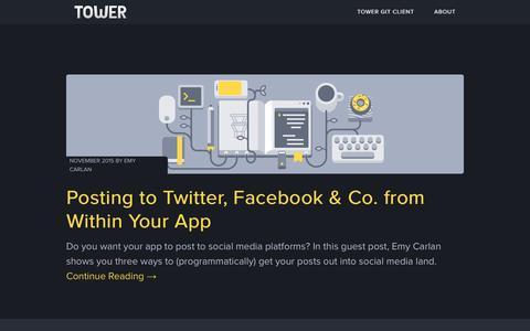 Screenshot of Blog git-tower.com - Home - captured Nov. 26, 2015