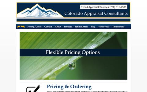 Screenshot of Pricing Page appraisalcolorado.com - Order Residential, Commercial | Colorado Appraisal Consultants - captured Sept. 28, 2018