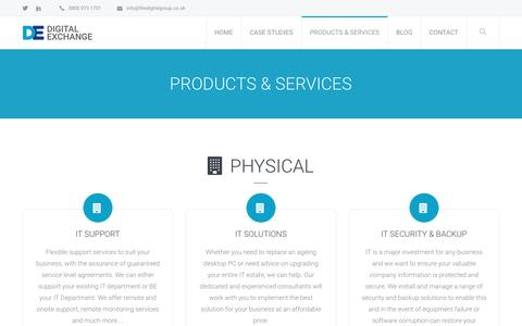 Screenshot of Services Page thedigitalgroup.co.uk - Products & Services – Digital Exchange - captured Nov. 24, 2016
