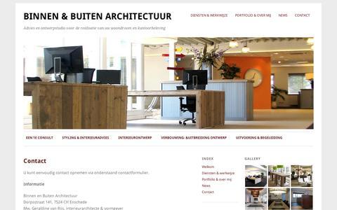 Screenshot of Contact Page wordpress.com - Contact   Binnen & Buiten Architectuur - captured Sept. 12, 2014
