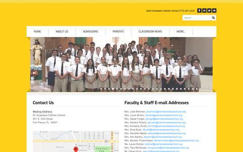 Screenshot of Contact Page saintanastasiaschool.org - Contact Us - captured Oct. 19, 2018