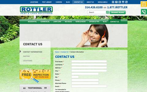 Screenshot of Contact Page rottler.com - Contact Rottler Pest Control & Lawn Solutions - captured Sept. 24, 2014