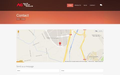 "Screenshot of Contact Page agediciones.com - AG Ediciones - Ideas ""ON"", Needs ""OFF"", Solutions ""ON"" - captured Oct. 4, 2014"