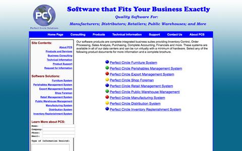 Screenshot of Products Page perfectcircle.com - Perfect Circle Solutions - Products - captured Jan. 27, 2016