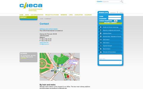 Screenshot of Contact Page cieca.eu - CIECA - Contact - captured Oct. 6, 2014