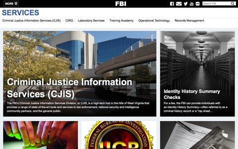 Screenshot of Services Page fbi.gov - Services — FBI - captured Aug. 2, 2016