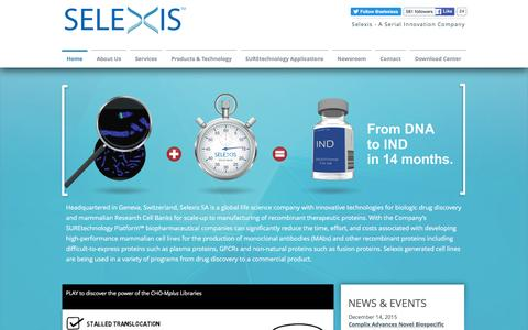 Screenshot of Home Page selexis.com - Selexis - Cell Line Development and Drug Discovery - captured Feb. 4, 2016