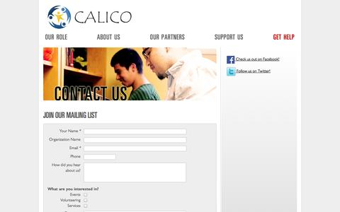 Screenshot of Contact Page calicocenter.org - Contact Us — About Us —  CALICO - captured Oct. 1, 2014