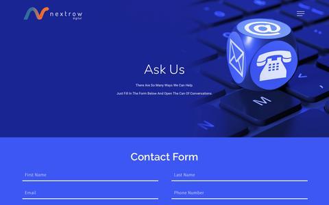Screenshot of Contact Page nextrow.com - Contact Us - AEM Services, Marketing Automation, Mobile Apps | NextRow Digital - captured Nov. 8, 2018