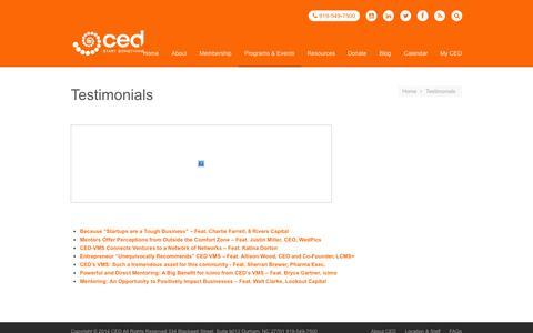 Screenshot of Testimonials Page cednc.org - Testimonials - CED - captured Nov. 1, 2014