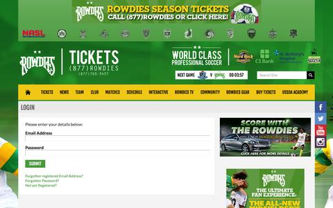 Screenshot of Login Page rowdiessoccer.com - Rowdies Login | rowdiessoccer.com - captured Sept. 23, 2014