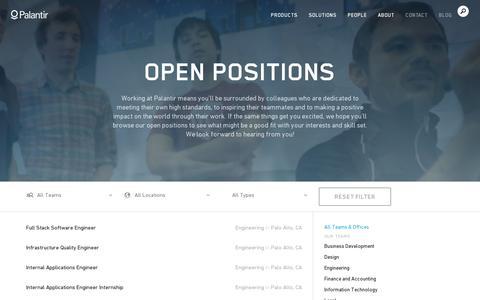 Screenshot of Jobs Page palantir.com - Open Positions   Palantir - captured July 18, 2014