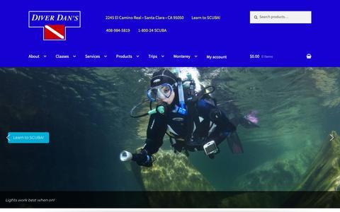 Screenshot of Home Page diverdans.com - Diver Dan's | Online Scuba Store - captured Oct. 9, 2018