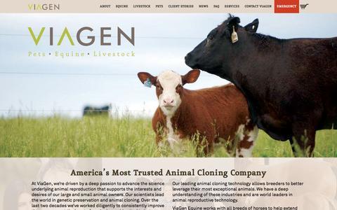 Screenshot of Home Page viagen.com - ViaGen Animal Cloning, Cloning Cows, Horse Cloning, Cloning Livestock   ViaGen - captured Aug. 17, 2016