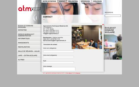 Screenshot of Contact Page atm-agencements.ch - Contact - ATM – Agencements Techniques Modernes - captured Nov. 2, 2014