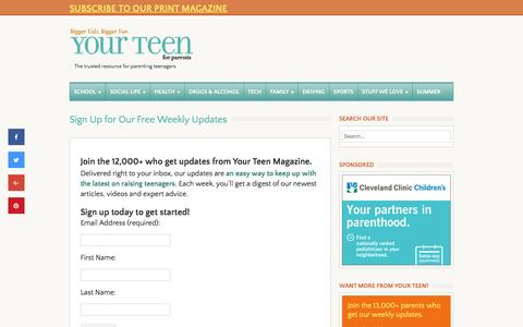 Screenshot of Signup Page yourteenmag.com - Free Weekly Newsletters - Your Teen Magazine for Parents - captured Nov. 28, 2016