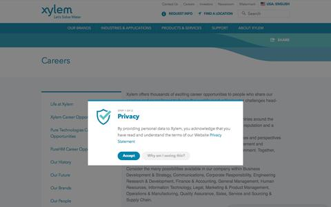 Screenshot of Jobs Page xylem.com - Career Opportunities | Xylem US - captured May 24, 2018