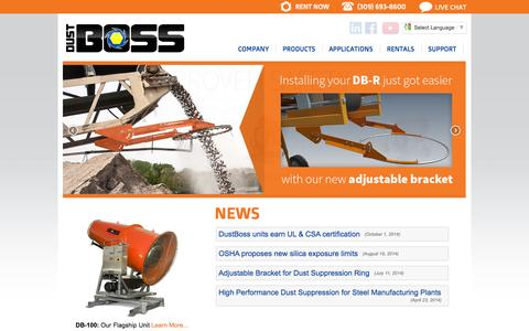 Screenshot of Home Page dustboss.com - DustBoss | Industrial Dust & Odor Control - captured Oct. 5, 2014