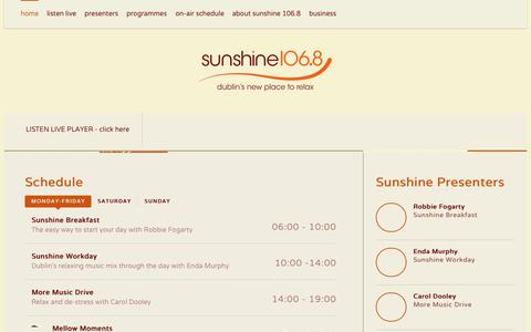 Screenshot of Home Page sunshineradio.ie - Sunshine 106.8 - Dublin's New Place to Relax - captured Aug. 13, 2015