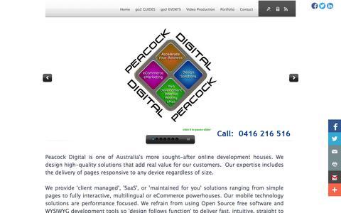 Screenshot of Home Page peacockdigital.com.au - website design bowral, web development, SEO, Google, video production, Peacock Digital - Homepage - captured Sept. 29, 2014