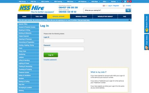 Screenshot of Login Page hss.com - HSS Hire › My Account › Log In - captured Sept. 24, 2014
