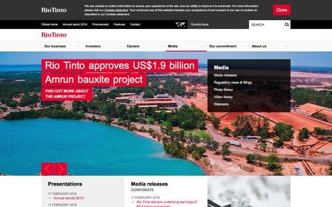 Screenshot of Press Page riotinto.com - Media - Rio Tinto - captured Feb. 24, 2016