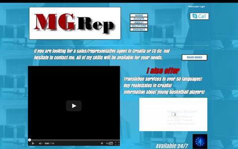 Screenshot of Home Page mgrep.biz - MG Rep - captured Oct. 25, 2014
