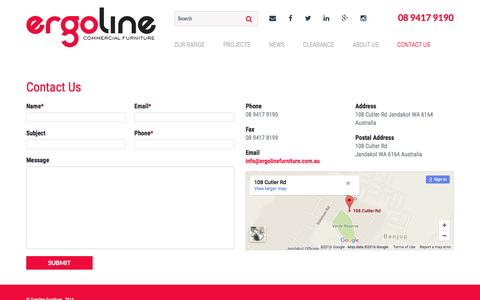 Screenshot of Contact Page ergolinefurniture.com.au - Contact Us | Ergoline Furniture - captured July 8, 2016