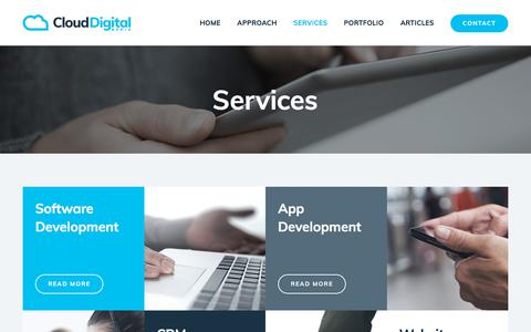 Screenshot of Services Page clouddigitalmedia.co.uk - Services - Cloud Digital Media Ltd - captured July 19, 2018