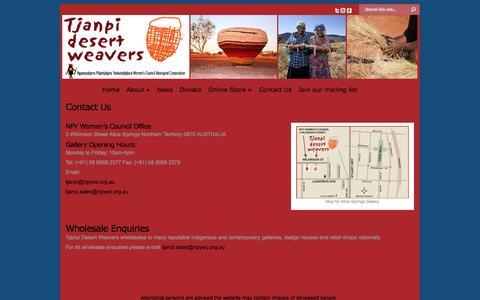 Screenshot of Contact Page tjanpi.com.au - Contact Us | Tjanpi Desert Weavers - captured Oct. 7, 2014