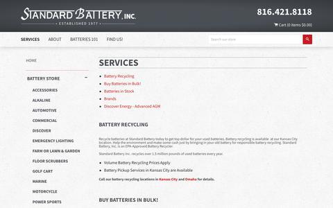 Screenshot of Services Page standardbatteryinc.com - Services – Standard Battery - captured Nov. 8, 2017