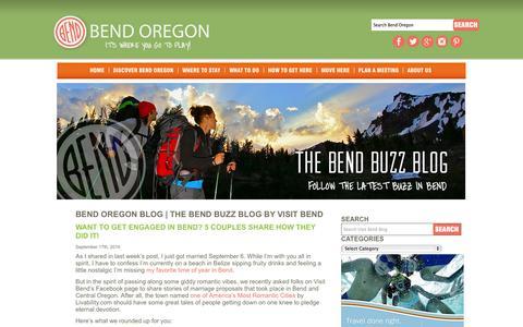 Screenshot of Blog visitbend.com - Bend Oregon Blog | The Bend Buzz Blog by Visit Bend | Visit Bend Oregon. Be Inspired. Read the Bend Buzz Blog. - captured Sept. 23, 2014