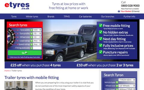 Screenshot of etyres.co.uk - Buy Trailer Tyres with free mobile tyre fitting service - etyres - captured Feb. 27, 2017