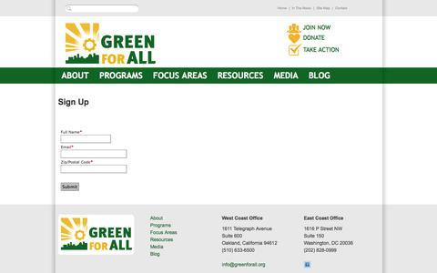 Screenshot of Signup Page salsalabs.com - Green For All - captured Sept. 17, 2014