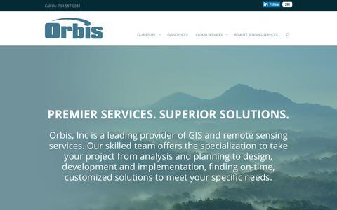 Screenshot of Home Page orbisinc.com - Home - Orbis Inc. - captured Sept. 21, 2018