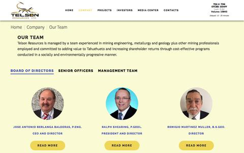 Screenshot of Team Page telsonresources.com - Our Team - captured Oct. 24, 2017