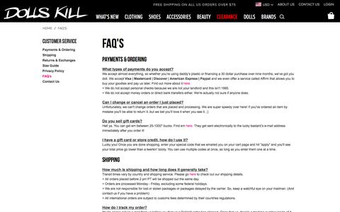 FAQ's | Dolls Kill