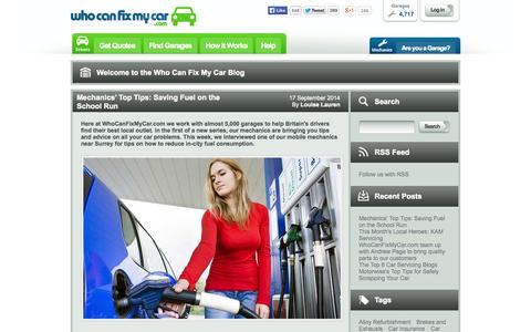 Screenshot of Blog whocanfixmycar.com - The Car Servicing Blog :: Who Can Fix My Car - captured Sept. 17, 2014