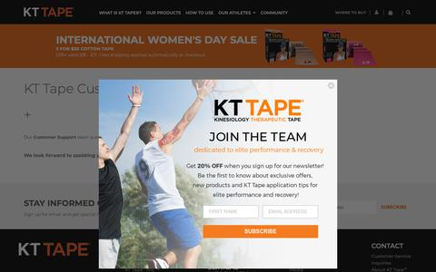 Screenshot of Support Page kttape.com - KT Tape Customer Service | Kinesiology Therapeutic Tape - captured March 11, 2019