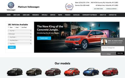 Screenshot of Home Page platinumvw.com - Cars for Sale | New & Used Car Dealer Hicksville, NY | Platinum Volkswagen - captured Aug. 3, 2017