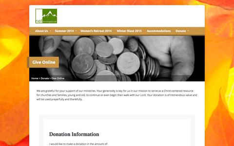 Screenshot of Support Page rumneybibleconference.org - Give Online - New England Fellowship of Evangelicals - captured Oct. 26, 2014