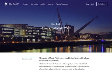 Screenshot of Case Studies Page kiratalent.com - University of South Wales - Customer Story | Kira Talent - Video Admissions Platform - captured Oct. 24, 2017