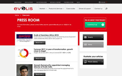 Screenshot of Press Page evolis.com - Press releases | Evolis - captured July 21, 2018